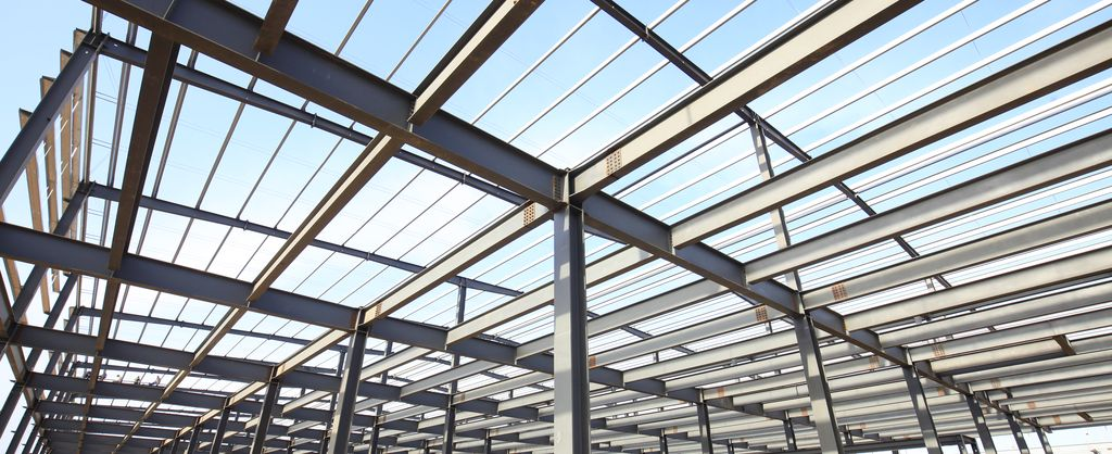 Background image - industry solution construction industry - view of a hall roof
