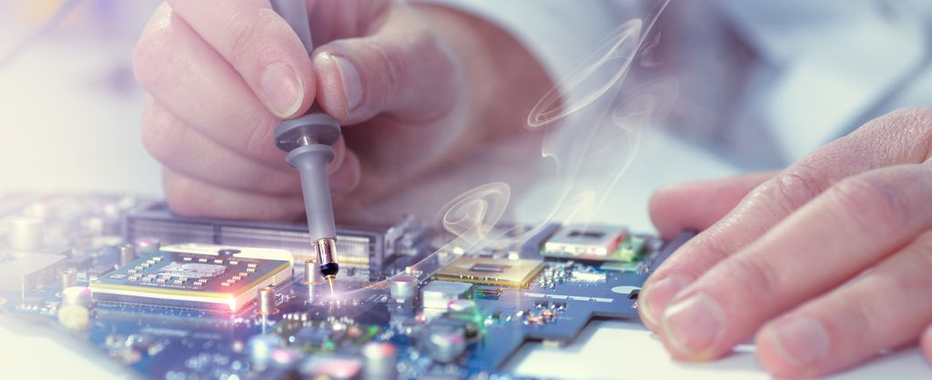 Background image - industry solution research & development - view person is soldering on a circuit
